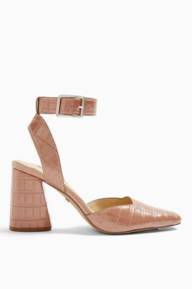 Topshop Womens Gaze Block Ankle Strap Heel Shoe - Pink