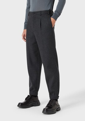 Giorgio Armani Loose-Fit Trousers In Virgin Wool And Cashmere