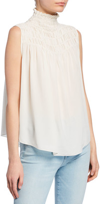 Frame Smocked Sleeveless Silk Blouse