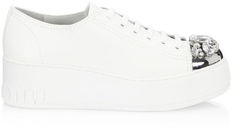 Miu Miu Jewelled Cap-Toe Leather Platform Sneakers