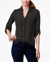 Amy Byer Juniors' Printed Tab-Sleeve Shirt