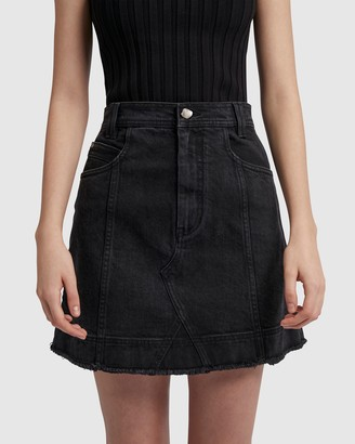 Aje Coda Denim Mini Skirt