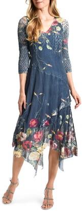 Komarov Floral Chiffon & Charmeuse Handkerchief Hem Midi Dress