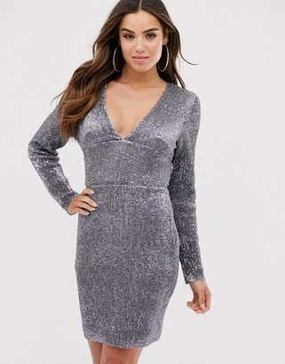Club L London plunge neck open back mini dress-Silver