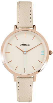 Auree Jewellery Montamartre Rose Gold Watch With Almond & Pale Blue Strap