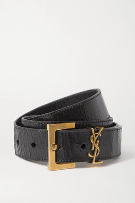 Saint Laurent Embellished Crinkled Glossed-leather Belt - Black