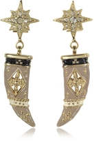 Roberto Cavalli Gold-tone Brass, Enamel and Crystals Horn Earrings