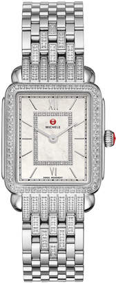 Michele Deco II Mid Stainless Steel Diamond Bracelet Watch
