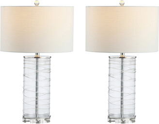Jonathan Y Designs Cole 27.5In Modern Fused Glass Cylinder Led Table Lamp