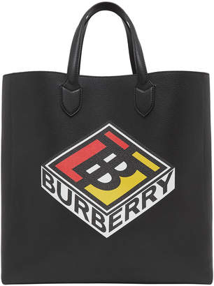 Burberry Men's Kane Logo-Graphic Leather Tote