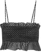 Lisa Marie Fernandez Selena Smocked Polka-dot Cotton Top - Black