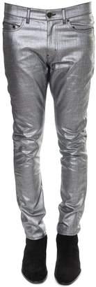 Saint Laurent Metallic Silver Slim Fit Jeans