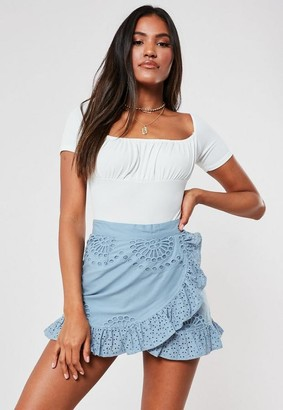 Missguided Blue Broderie Anglaise Frill Layer Mini Skirt