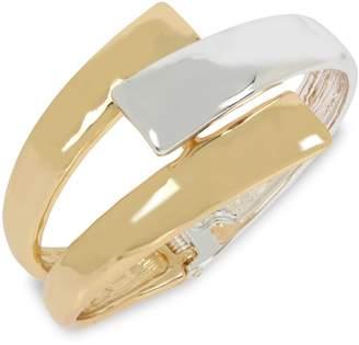 Robert Lee Morris Soho Two-Tone Geometric Bypass Hinged Bangle Bracelet