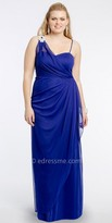 Camille La Vie One Shoulder Rhinestone Brooch Plus Size Evening Dress