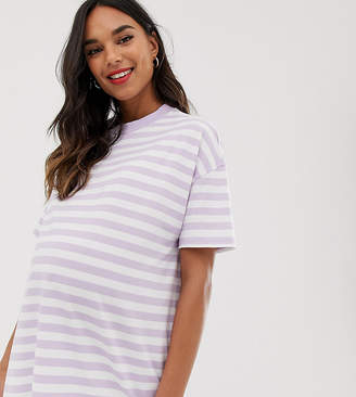 Asos DESIGN Maternity t-shirt in super oversized fit in chunky stripe-Purple