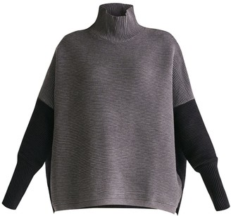 Paisie Two Tone Ribbed Polo Neck Jumper With Side Splits In Charcoal & Black