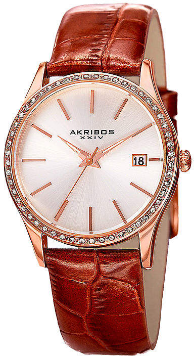 Akribos XXIV Lux Womens Rose Gold-Tone Leather Strap Watch