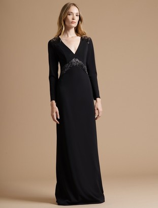 Halston Fitted Crepe Knit Gown with Embroidered Sheer Insert