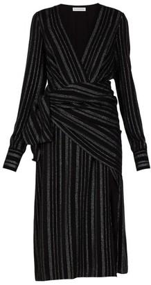 Altuzarra Sade Metallic-striped Silk-blend Crepe Wrap Dress - Black
