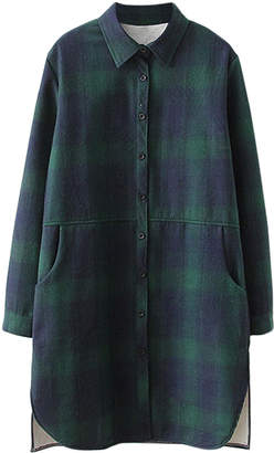 Cellabie CELLABIE Women's Button Down Shirts Green - Green & Black-Button Plaid Button-Shirt Dress - Women