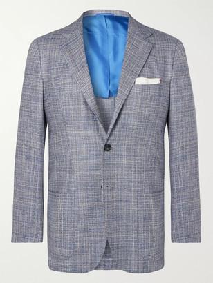 Kiton Blue Slim-fit Unstructured Cashmere, Virgin Wool, Silk And Linen-blend Blazer - Blue