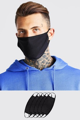 boohoo Mens Black 5 Pack Plain Fashion Masks, Black