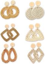 Thumbnail for your product : Trounistro Woven Rattan Tassel Earrings Tassel Hoop Earrings Bohemian Geometric Statement Drop Earrings for Women Girl