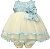 Jayne Copeland Blue Lace & Cream Tulle Bow Fit & Flare Dress & Bloomers - Infant
