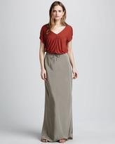 Vince Jersey V-Neck Top & Silk Drawstring Skirt