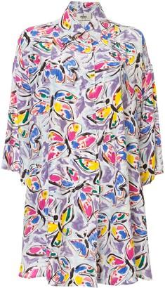Fendi Pre-Owned Silk Butterfly Print Shirt Dress