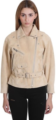 IRO Tigao Leather Jacket In Beige Suede