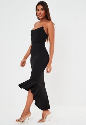 Missguided Black Bandeau Ruffle Hem Midi Dress