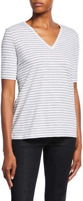 Eileen Fisher Plus Size Striped V-Neck Short-Sleeve Organic Cotton Slub Tee