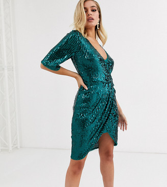 TFNC sequin wrap front kimono midi dress in emerald