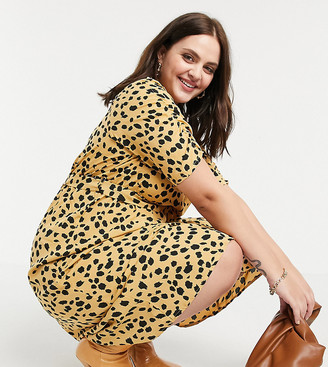 Wednesday's Girl Curve belted midi dress in dalmatian spot