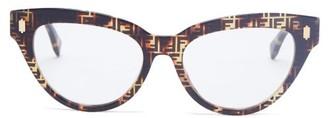 Fendi Ff Logo-print Cat-eye Acetate Glasses - Tortoiseshell