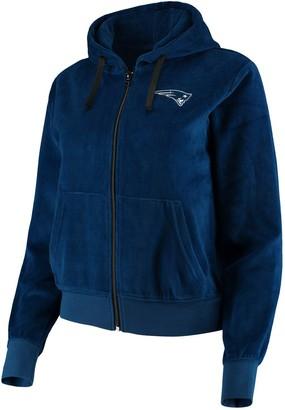 Women's Navy New England Patriots Velour Suit Full-Zip Hoodie