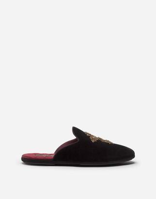 Dolce & Gabbana Velvet Open-Back Slippers With Cross Embroidery