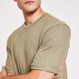 River Island Khaki textured short sleeve slim fit T-shirt