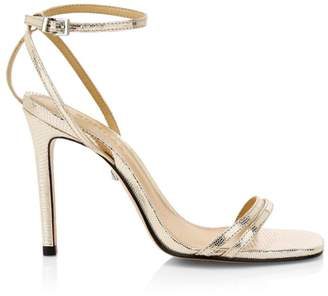 Schutz Altina Metallic Leather Stiletto Sandals