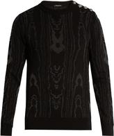 Balmain Moiré-effect cotton-blend knit sweater