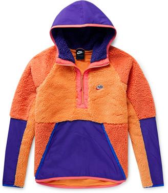 Nike Colour-Block Shell-Trimmed Fleece Half-Zip Hoodie