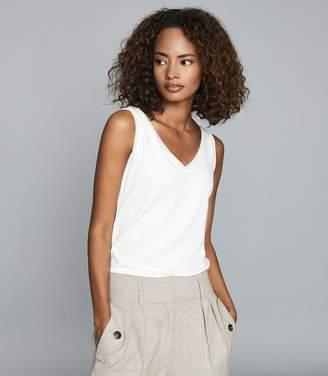 Reiss ONA V-Neck Jersey Vest White