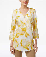 JM Collection Printed Zippered-Neck Top, Created for Macy's