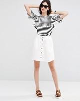Asos Denim Button Front Mini Skater Skirt in Off White