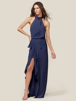 Halston Sleeveless Mock Neck Gown