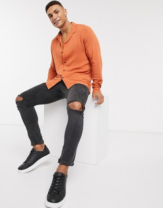 ASOS DESIGN regular fit viscose shirt with revere collar in rust