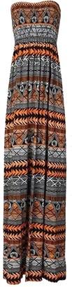 EASY BUYY Womens Ladies Strapless Boobtube Bandeau Printed Sheering Maxi Dress (UK M/L 12/14