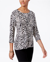 JM Collection Animal-Print Jacquard Top, Only at Macy's